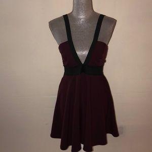 Nasty gal dress burgundy and black